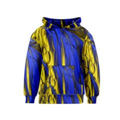 Blue And Gold Fractal Lava Kids  Pullover Hoodie