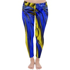 Blue And Gold Fractal Lava Classic Winter Leggings