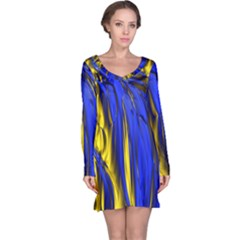 Blue And Gold Fractal Lava Long Sleeve Nightdress
