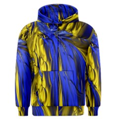 Blue And Gold Fractal Lava Men s Zipper Hoodie