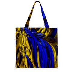 Blue And Gold Fractal Lava Zipper Grocery Tote Bag