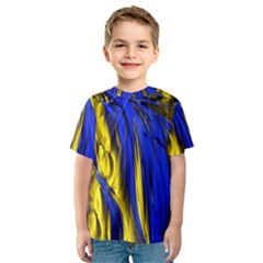 Blue And Gold Fractal Lava Kids  Sport Mesh Tee