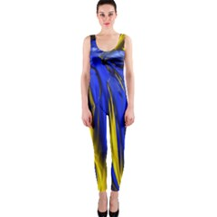 Blue And Gold Fractal Lava OnePiece Catsuit