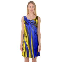 Blue And Gold Fractal Lava Sleeveless Satin Nightdress