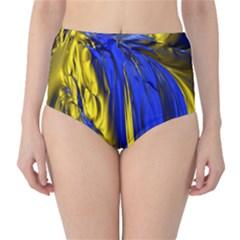 Blue And Gold Fractal Lava High-Waist Bikini Bottoms