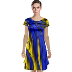 Blue And Gold Fractal Lava Cap Sleeve Nightdress