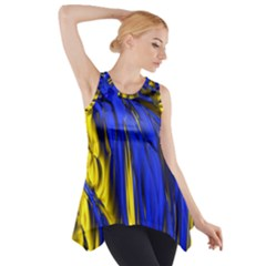 Blue And Gold Fractal Lava Side Drop Tank Tunic