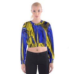 Blue And Gold Fractal Lava Women s Cropped Sweatshirt