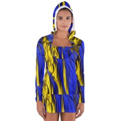 Blue And Gold Fractal Lava Women s Long Sleeve Hooded T Shirt