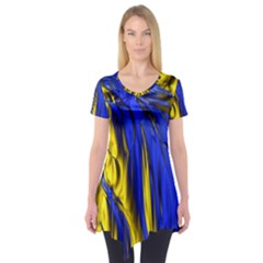 Blue And Gold Fractal Lava Short Sleeve Tunic
