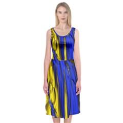 Blue And Gold Fractal Lava Midi Sleeveless Dress