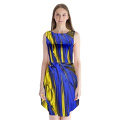 Blue And Gold Fractal Lava Sleeveless Chiffon Dress