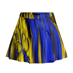Blue And Gold Fractal Lava Mini Flare Skirt