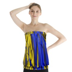Blue And Gold Fractal Lava Strapless Top