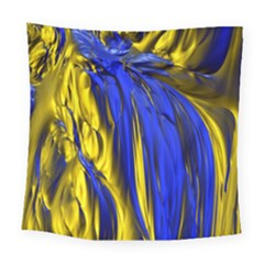 Blue And Gold Fractal Lava Square Tapestry (large)