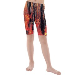 Forest Fire Fractal Background Kids  Mid Length Swim Shorts