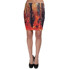 Forest Fire Fractal Background Bodycon Skirt