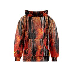Forest Fire Fractal Background Kids  Pullover Hoodie