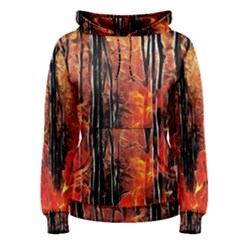 Forest Fire Fractal Background Women s Pullover Hoodie