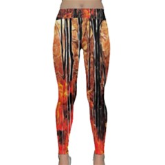 Forest Fire Fractal Background Classic Yoga Leggings
