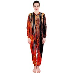 Forest Fire Fractal Background OnePiece Jumpsuit (Ladies)