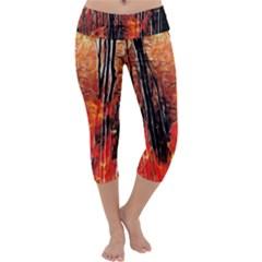 Forest Fire Fractal Background Capri Yoga Leggings