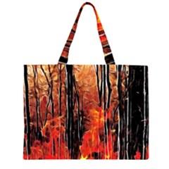 Forest Fire Fractal Background Large Tote Bag