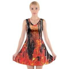 Forest Fire Fractal Background V Neck Sleeveless Skater Dress