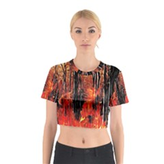 Forest Fire Fractal Background Cotton Crop Top