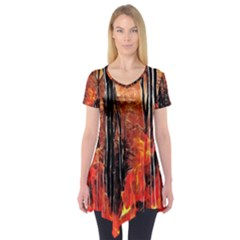 Forest Fire Fractal Background Short Sleeve Tunic