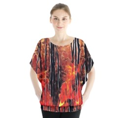 Forest Fire Fractal Background Blouse