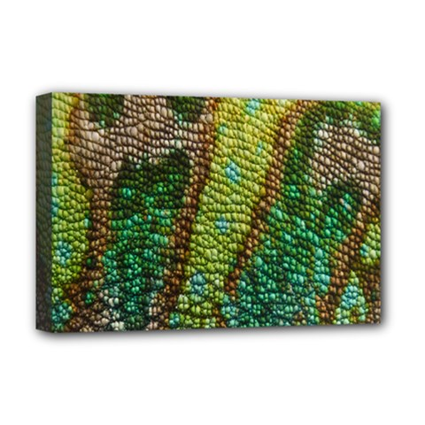 Colorful Chameleon Skin Texture Deluxe Canvas 18  x 12