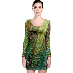 Colorful Chameleon Skin Texture Long Sleeve Bodycon Dress