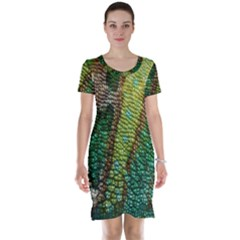 Colorful Chameleon Skin Texture Short Sleeve Nightdress