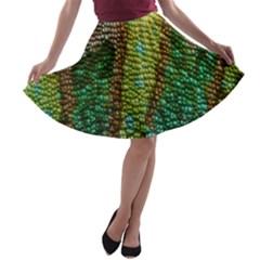 Colorful Chameleon Skin Texture A Line Skater Skirt