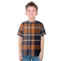 Tartan Background Fabric Design Pattern Kids  Cotton Tee