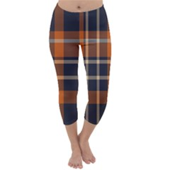 Tartan Background Fabric Design Pattern Capri Winter Leggings