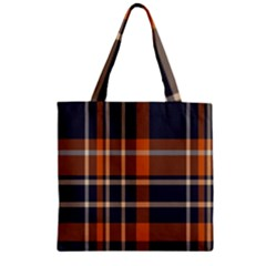 Tartan Background Fabric Design Pattern Zipper Grocery Tote Bag