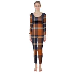 Tartan Background Fabric Design Pattern Long Sleeve Catsuit