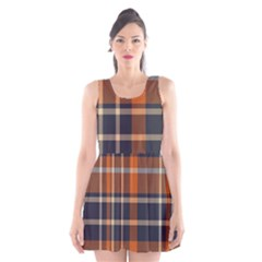 Tartan Background Fabric Design Pattern Scoop Neck Skater Dress