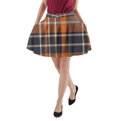Tartan Background Fabric Design Pattern A-Line Pocket Skirt