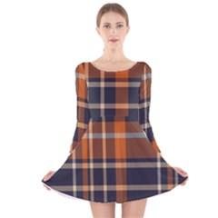 Tartan Background Fabric Design Pattern Long Sleeve Velvet Skater Dress