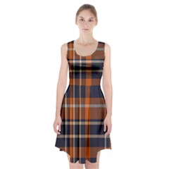 Tartan Background Fabric Design Pattern Racerback Midi Dress