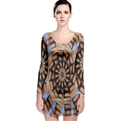 Manipulated Reality Of A Building Picture Long Sleeve Bodycon Dress
