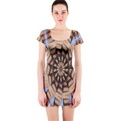 Manipulated Reality Of A Building Picture Short Sleeve Bodycon Dress