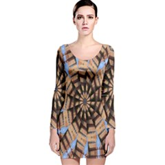 Manipulated Reality Of A Building Picture Long Sleeve Velvet Bodycon Dress