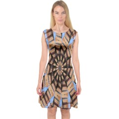Manipulated Reality Of A Building Picture Capsleeve Midi Dress