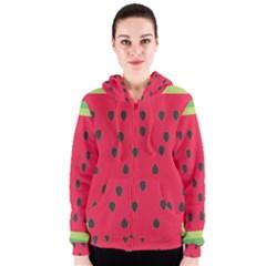 Watermelon Fan Red Green Fruit Women s Zipper Hoodie
