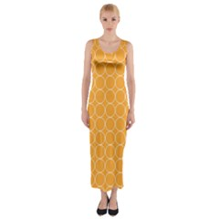 Yellow Circles Fitted Maxi Dress
