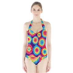 Tie Dye Circle Round Color Rainbow Red Purple Yellow Blue Pink Orange Halter Swimsuit